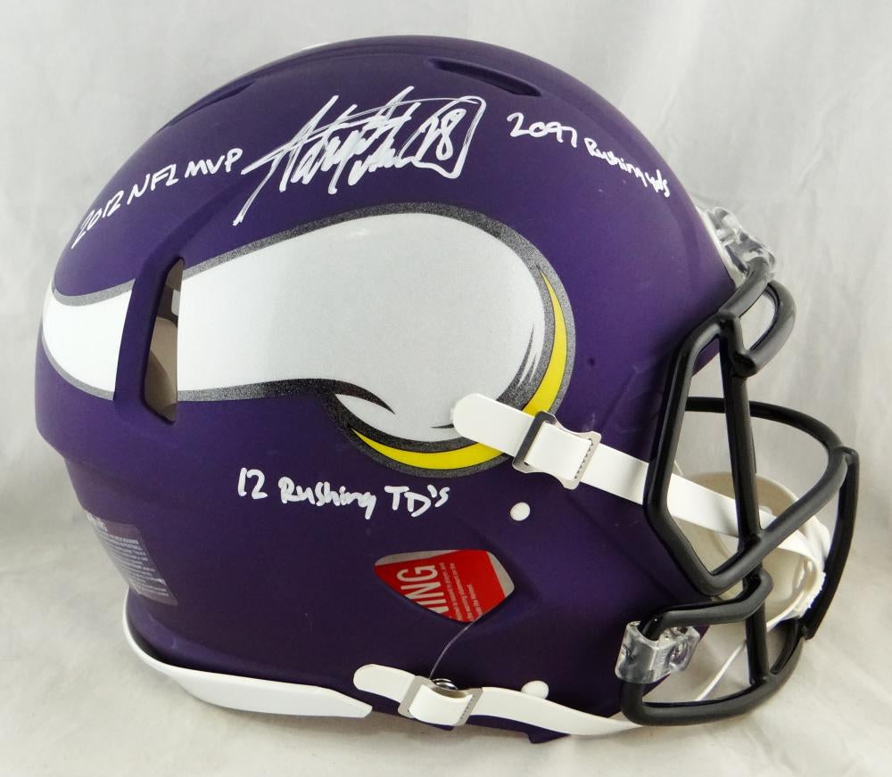 9a98cb85 Adrian Peterson Autographed Vikings F/S Speed Authentic Helmet W/3 Insc-  Beckett Auth *White