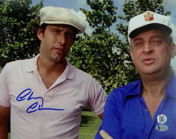 Chevy Chase Autographed 11x14 Caddyshack W/ Dangerfield - Beckett Auth *Blue