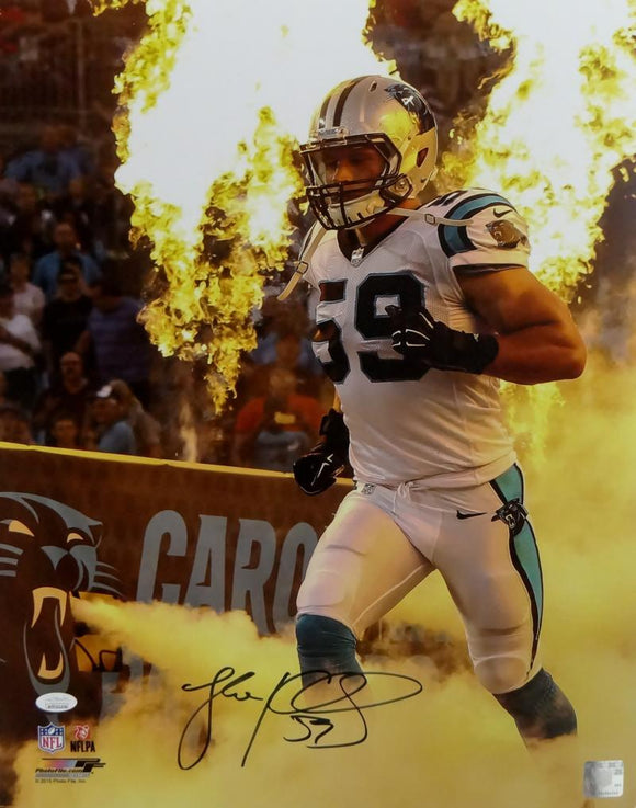 Luke Kuechly Autographed Panthers 16x20 Running Out Tunnel PF Photo- JSA W Auth
