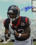 Arian Foster Autographed Texans 8x10 TD Bow Blue Jersey Photo- JSA W Auth