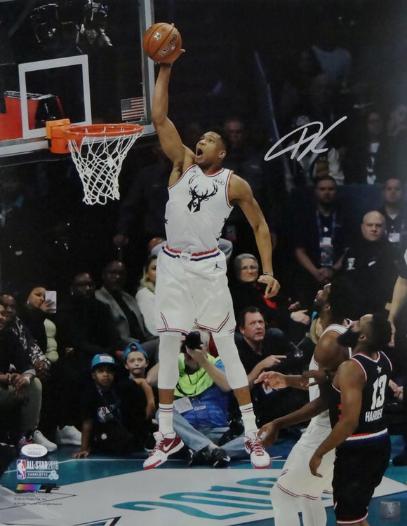 Giannis Antetokounmpo Autographed Bucks 16x20 PF Photo Dunking All Star Game-JSA W Auth *Silver