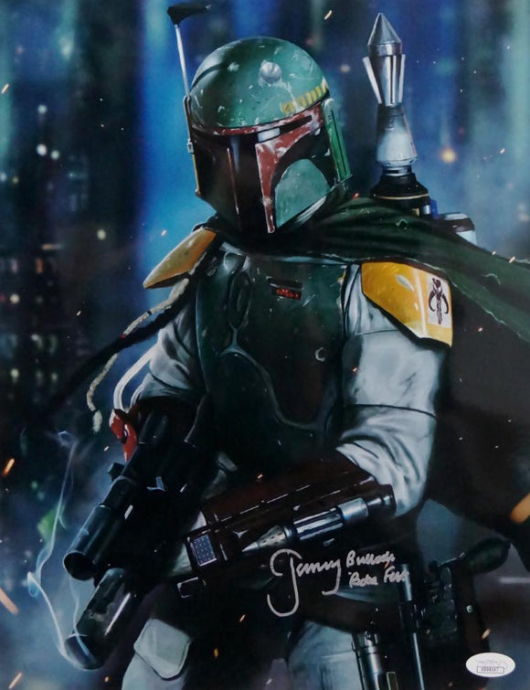 Jeremy Bulloch Autographed Star Wars Boba Fett with Gun 11x17 Photo- JSA Auth