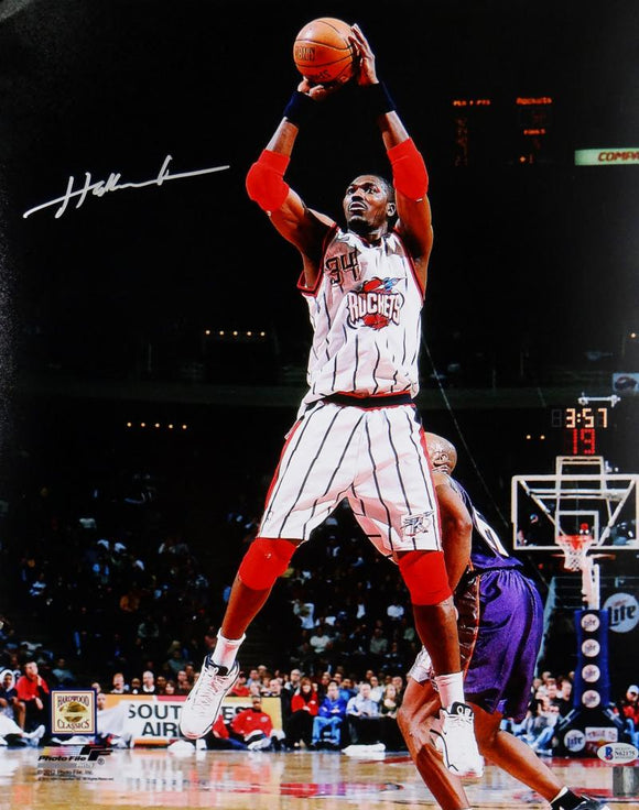 Hakeem Olajuwon Houston Autographed 16x20 Jump Shot Photo- Beckett Auth *Silver