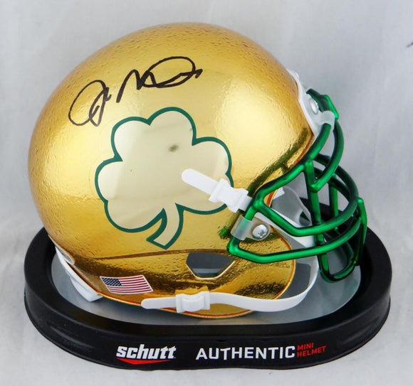Joe Montana Signed Notre Dame Gold Textured Shamrock Mini Helmet - Beckett Auth
