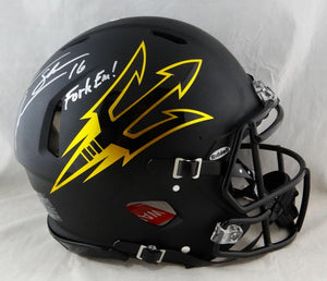 Jake Plummer Fork Em Signed Arizona State F/S Speed Authentic Helmet- Beckett Auth