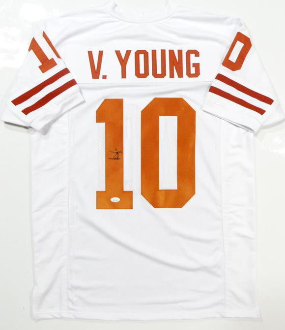 Vince Young Autographed White College Style Jersey- JSA Witnessed Authenticated