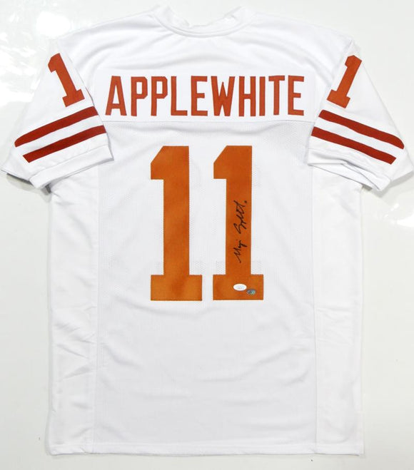 Major Applewhite Autographed White Pro Style Jersey- JSA Authenticated *R1