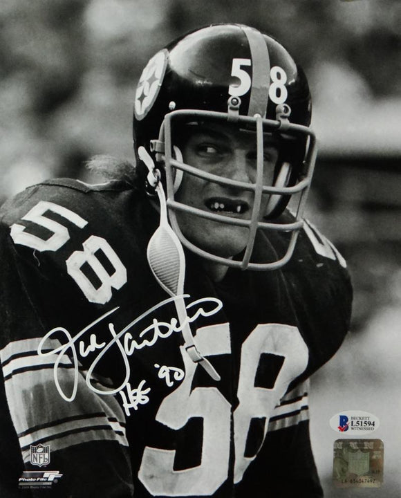 Jack Lambert Autographed Steelers 8x10 B&W Close Up Photo PF w/HOF- Beckett Auth