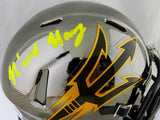 N'Keal Harry Autographed Arizona State Chrome Mini Helmet- Beckett Auth *Yellow