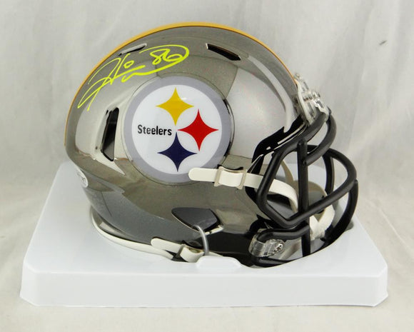 Hines Ward Autographed Pittsburgh Steelers Chrome Mini Helmet- Beckett Auth *Yellow