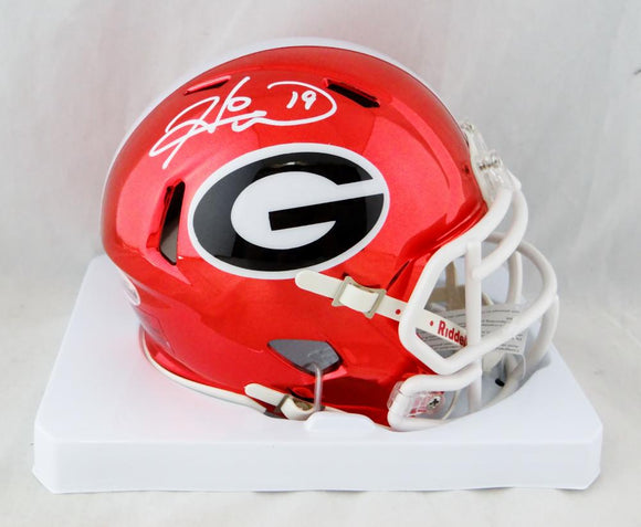 Hines Ward Autographed Georgia Bulldogs Chrome Mini Helmet Beckett Auth *White