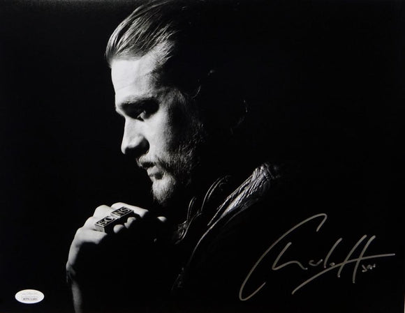 Charlie Hunnam Signed 11x14 Jax Teller B&W Close Up Photo- JSA W Auth *Silver