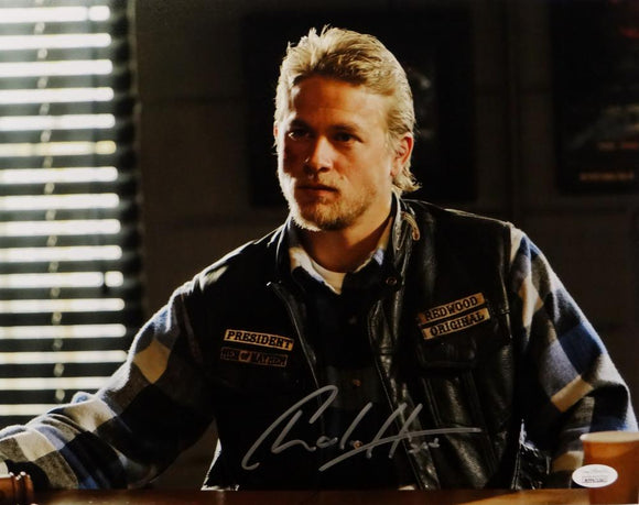 Charlie Hunnam Signed 11x14 Jax Teller in Leather Jacket Photo- JSA W Auth *Horizontal