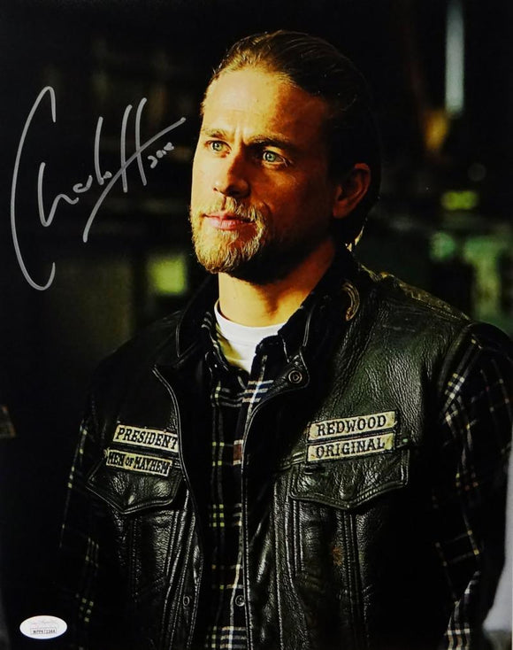 Charlie Hunnam Signed 11x14 Jax Teller in Leather Jacket Photo- JSA W Auth *Vertical