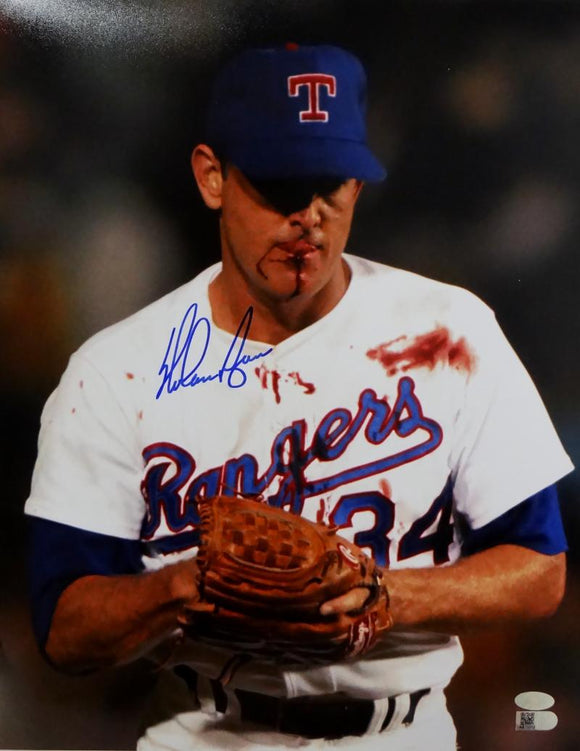 Nolan Ryan Autographed Texas Rangers 11x14 Bloody Lip Photo - AI Verified *Blue