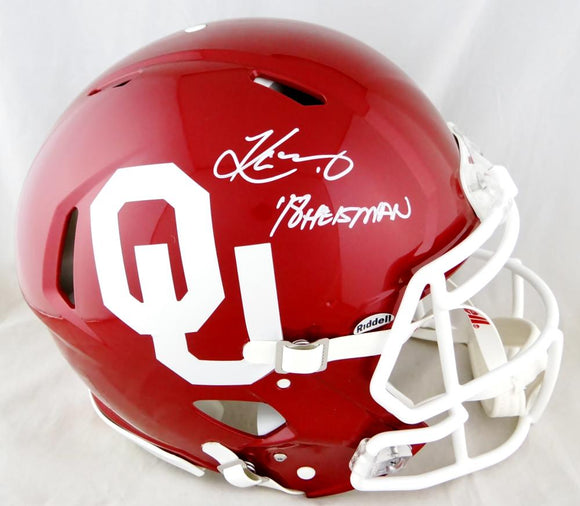 Kyler Murray Autographed Oklahoma F/S Speed Authentic Helmet w/ '18 HT - Beckett Auth *White