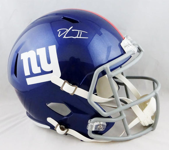 Dexter Lawrence Autographed New York Giants F/S Speed Helmet- Beckett Auth *White