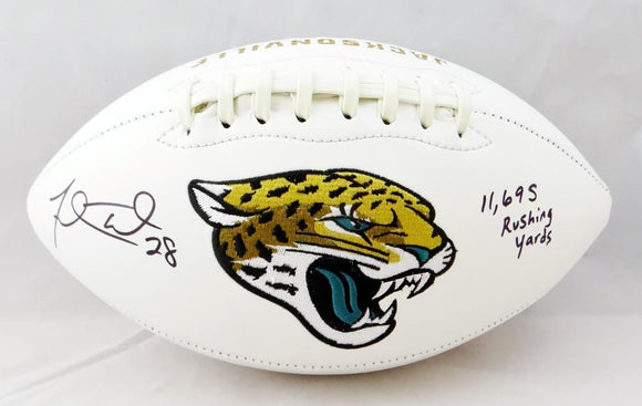 Fred Taylor Autographed Jacksonville Jaguars Logo Football w/ 11,698 Rushing Yards- Beckett Auth *Black