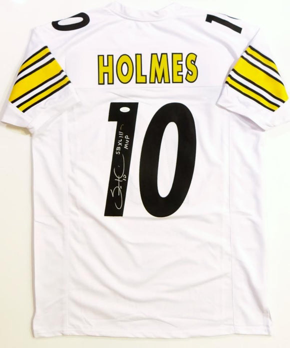 Santonio Holmes Autographed White Pro Style Jersey W/ SB MVP- JSA Witnessed Auth