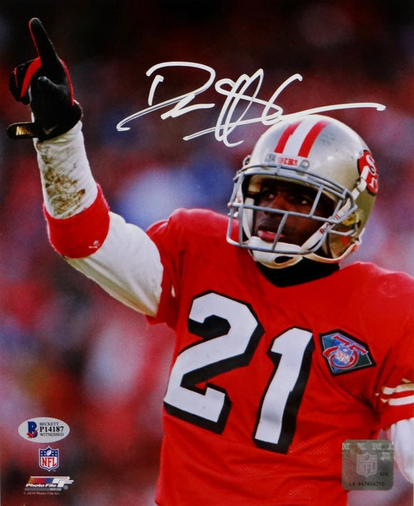 Deion Sanders Autographed 49ers 8x10 Close Up PF Photo- Beckett Auth *White