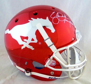 Eric Dickerson Autographed SMU Mustangs Full Size Chrome Helmet w/ Pony Express- Beckett Auth *White