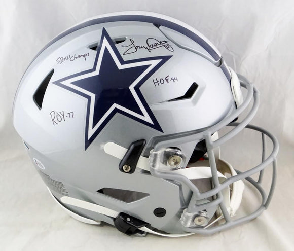 Tony Dorsett Autographed Dallas Cowboys Full Size SpeedFlex Helmet w/3 Insc- Beckett Auth *Black