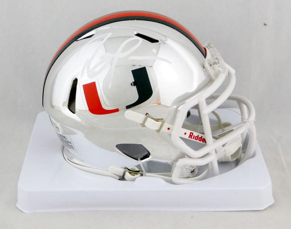 Ray Lewis Autographed Miami Hurricanes Chrome Riddell Speed Mini Helmet- Beckett Auth *White