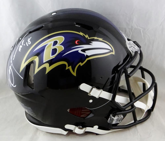 Ray Lewis Signed Baltimore Ravens F/S Speed Authentic Helmet w/ HOF- Beckett Auth *White