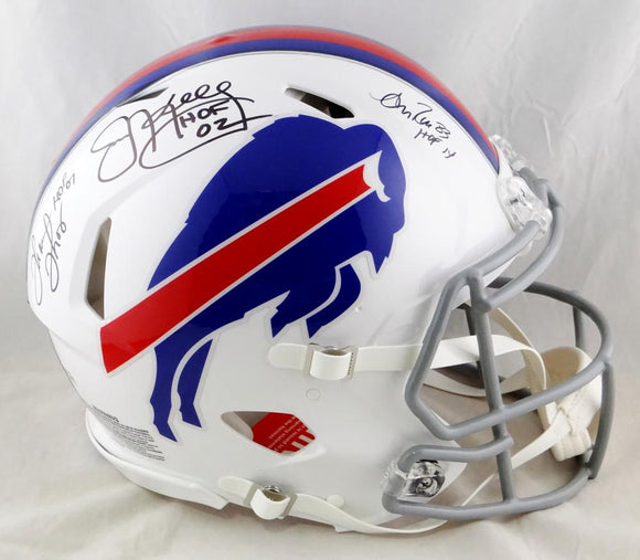 Kelly/Reed/Thomas Autographed Buffalo Bills F/S Speed Authentic Helmet W/ HOF- JSA W Auth *Black