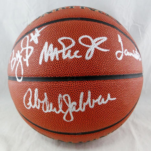 Abdul-Jabbar, Johnson, Worthy, Scott Autographed Official NBA Spalding Basketball - Beckett Auth