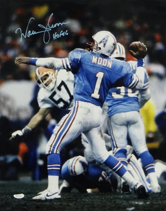Warren Moon Signed Houston Oilers 16x20 Against Browns Photo W/ HOF- JSA W Auth