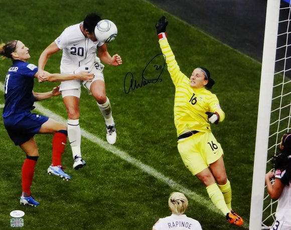 Abby Wambach Autographed Team USA 16x20 Heading Ball Photo- JSA Auth
