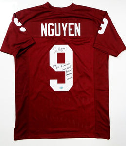Dat Nguyen Autographed Maroon College Style Jersey w/ 4 Insc- Jersey Source Auth