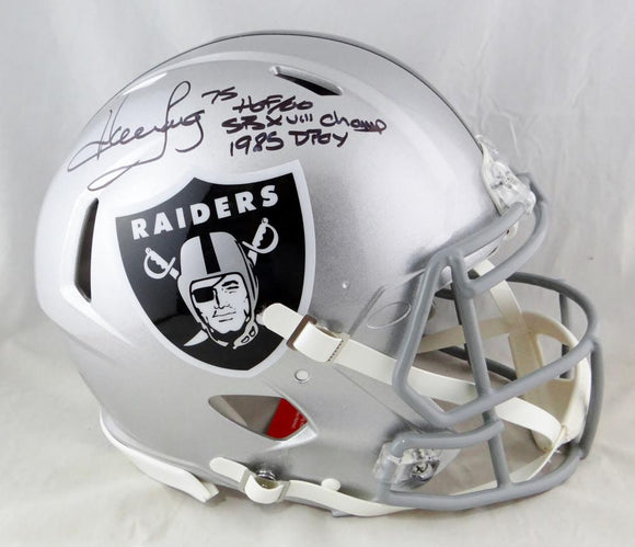 Howie Long Autographed Oakland Raiders F/S Speed Authentic Helmet w/ 3 Insc- Beckett Auth *Black