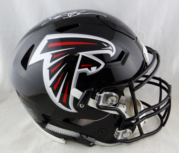 Deion Sanders Autographed Atlanta Falcons Full Size SpeedFlex Helmet- Beckett Auth *White