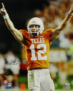 Colt McCoy Autographed Texas Longhorns 16x20 Arms Up PF Photo - PSA/DNA Auth *Black