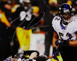 Ray Lewis Autographed Ravens 16x20 Photo Over Roethlisberger PF - Beckett Auth *Silver