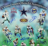 Dallas Cowboys Autographed 16x20 3X SB Champions Photo With 15 Sigs- Beckett Letter Auth