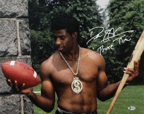 Deion Sanders Autographed 16x20 Posing Shirtless Photo - Beckett Auth *White