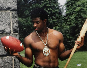 Deion Sanders Autographed 16x20 Posing Shirtless Photo - Beckett Auth *Black