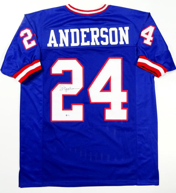 Ottis Anderson Autographed Blue Pro Style Jersey - Beckett Auth *2