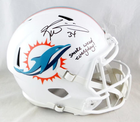 Ricky Williams Autographed Miami Dolphins F/S Speed Helmet w/ Smoke Weed- JSA W Auth *Black
