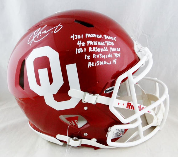 Kyler Murray Autographed Oklahoma F/S Speed Authentic Helmet w/ 5 Stats - Beckett Auth *White