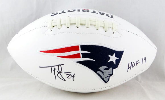 Ty Law Autographed New England Patriots Logo Football w/HOF - Beckett Auth *Black