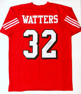 Ricky Watters Autographed Red Pro Style Jersey- Beckett Authenticated *Black