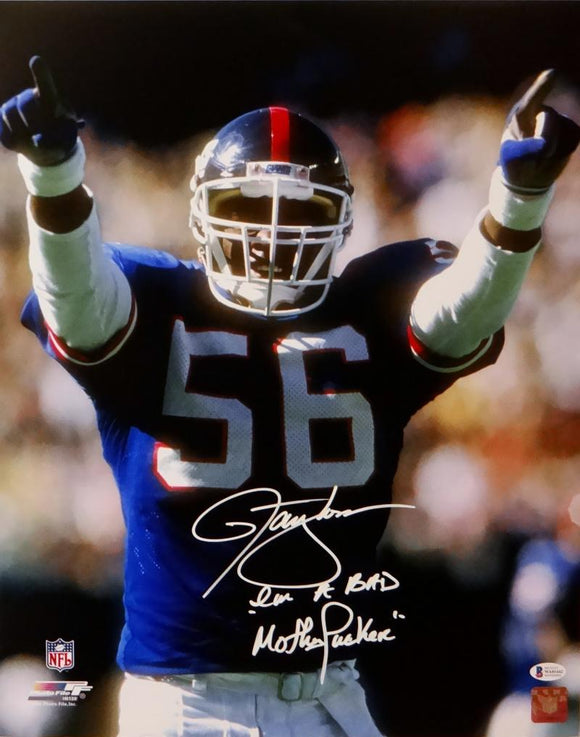 Lawrence Taylor Signed NY Giants 16x20 Pointing Photo w/ Insc - Beckett Auth *White