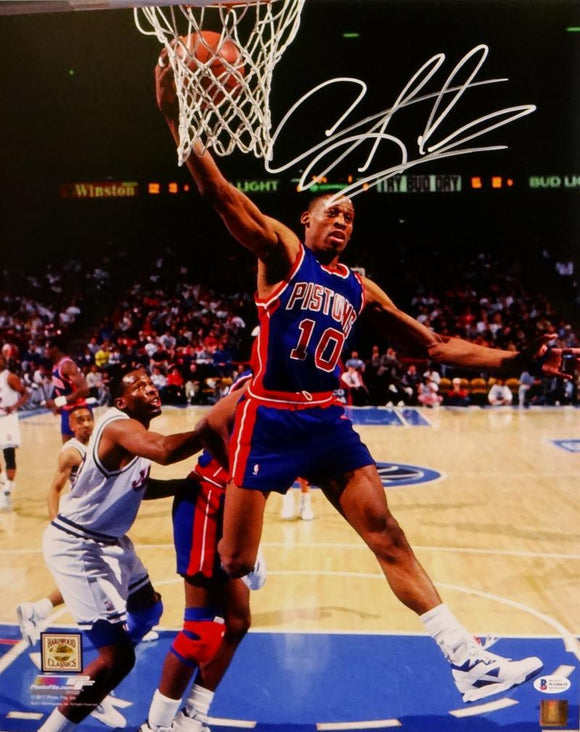 Dennis Rodman Signed Pistons 16x20 One Handed Rebound Photo- Beckett Auth *White