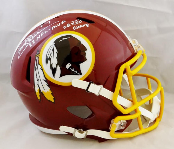 Joe Theismann Signed F/S Redskins Speed Helmet w/ SB Champs/83 MVP - JSA W Auth *White