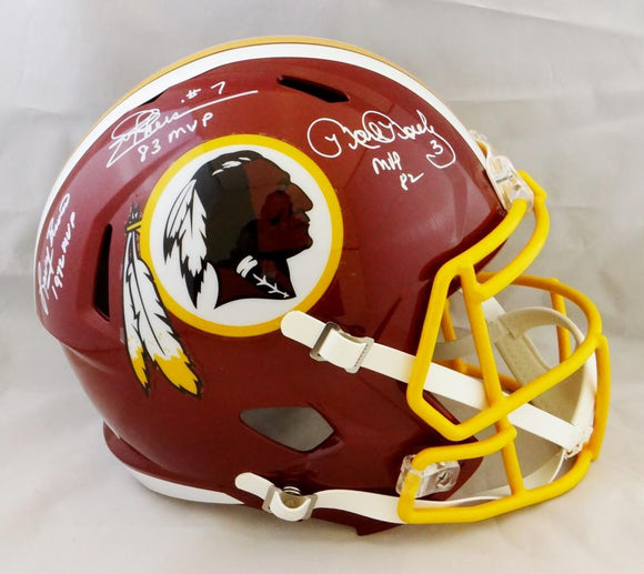 Theismann Moseley Brown Signed Redskins F/S Speed Helmet w/MVP Years- JSA W Auth