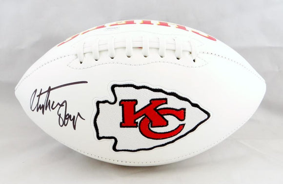 Christian Okoye Autographed Kansas City Chiefs Logo Football- JSA Witnessed Auth